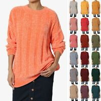 TheMogan S~3X Velvety Soft Chenille Crew Neck Oversized Sweater Knit Pullover