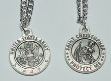 """Round US Army St Christopher Holy Medal on 24"""" stainless steel continuous chain"""