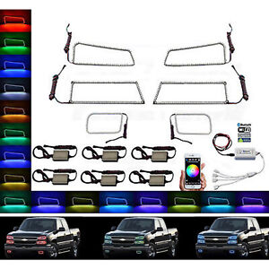 03-06 Chevy Silverado RGB SMD LED Headlight Fog Light Halo Ring BLUETOOTH Set