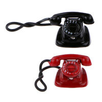 12th Black Retro Rotary Dial Desk Telephone Doll House Room Office Accessory