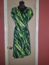 NWT Ava & Viv  Plus Womens Faux-Wrap Dress 3X Midi Green