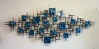 Signed Corey Ellis Art Blue Silver Mid Century Brutalist metal Wall Sculpture