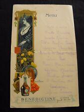 Menu ancien Bénédictine Marseille La Provence 1912  manuscrit