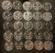 Old New Zealand Coin Lot - 10 CENT -  Maori Mask - 25 Coins - FREE SHIP
