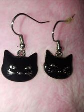 Enamel Black Cat Earrings