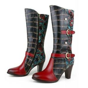 Women Pointy Toe Block Heels Buckle Strap Knight Knee High Boots Shoes 36/42 L