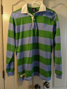 Brooks Brothers Rugby Shirt Fleece Logo green blue Stripe Long Sleeve XL
