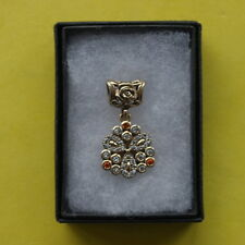 Beautiful 925 Silver Pendant With White And Yellow Topaz Gems 2.5 Gr. 3 Cm. Long