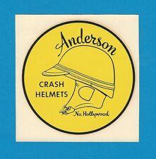 "VINTAGE ORIGINAL 1960 ""ANDERSON CRASH HELMETS"" NORTH HOLLYWOOD WATER DECAL ART"