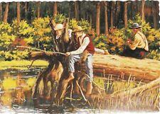 "Jack Wang : ""THREE BOYS AT THE CREEK FISHING"" SAWYER'S CREEK Art Card / Postcard"