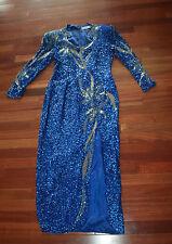 Vintage Black Tie He-Ro Heavily Beaded Sequined Silk Blue Dress Sz 8 M Drag