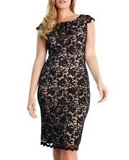 527ab50aff1 ABS by Allen Schwartz Plus Size Black Nude Cap Sleeve Lace Dress Size 2X