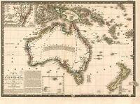 MAP ANTIQUE BRUE 1826 AUSTRALIA OLD HISTORIC LARGE REPLICA POSTER PRINT PAM0720