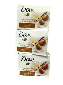 Dove Soap Beauty Cream Bar Shea Butter Vanilla Scent Moisturizing 100gm 3 Packs