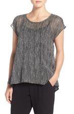 EILEEN FISHER NWT! Cap Sleeve Firefly Crinkle Silk Top Size Medium (M) MSRP $198