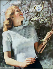 "Vintage 50s Knitting Pattern • LADIES AFTERNOON JUMPER • SHORT SLEEVE 34""  3 Ply"