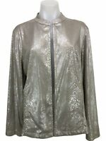 Chico's 2 Open Suede Leather Blazer Metallic Jacket Top Women's Size L