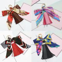 Women Velvet Leather Tassel Keychain Bag Ribbon Pendant Car Key Chain Gift