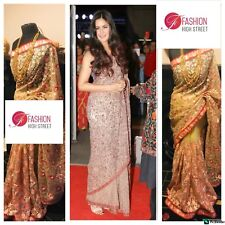 Indian Bollywood Katrina Kaif In Shyamal & Bhumika Gold & Peach Net Saree