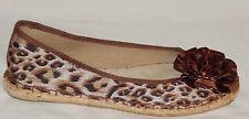 Bare Trap Brown Tan Flower Satin Cheetah Hemp Ballet Flats Shoes 7.5M EUC