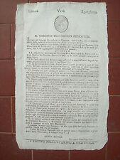 1799 GOVERNO PROVVISORIO PIEMONTESE BANDO EN TETE SU PASSAPORTI GOVERNO MILITARE