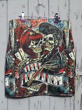 True Romance Skull Mini Skirt - Size 12 14 16 - Tattoo Rockabilly Drive Thru 50s