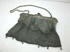 Antique 1920's Whiting & Davis Beautiful German Silver Soldered Mesh Purse
