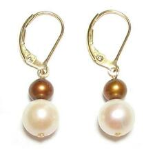 Genuine White & Brown Pearl 14K Gold Filled Lever Back Earrings