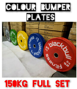"""BlackBull Fitness® Rubber Coloured Bumper Weight Plates Discs  GYM CROSSFIT 2"""""""