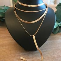 Free People Metal Gold Layered Necklace, NWT