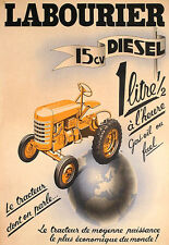 Art Ad French Tractor  Labourier Diesel   Poster Print