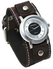 Nemesis BBC094S Men's Wide Brown Leather Cuff Band Silver/Black Dial Watch