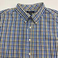 George Button Up Shirt Men's Size 2XL Short Sleeve Blue Tan White Checkered