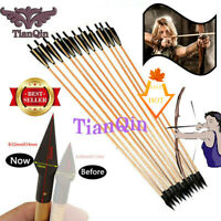 "12x Archery 33""Handmade Wooden Arrows England Turkey Feathers 85cm Recurve Bow"