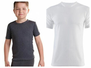 Winter boys thermal T Shirts Warm Soft White or Black Kids 2 to 13 Years