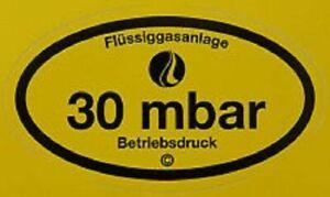 Betriebsdruckaufkleber 30 mbar Gas Aufkleber Gasprüfung G607
