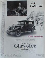 PUBLICITE AUTOMOBILE LA SUPER CHRYSLER IMPERIAL FAVORITE DE 1926 FRENCH AD CAR