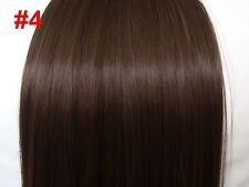 "22"" long clip in hair full head 8pc straight choclate brown #4 hair extension"