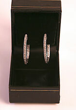 White Gold Diamond Inside-Out Design Oval Hoop Pierced Earrings 14 kt, 7.3 gm