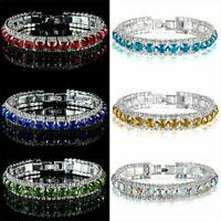 Stylish Women Crystal Rhinestone Tennis Bracelet Bangle Wedding Bridal Wristband