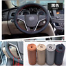 Black+Red Genuine Leather DIY Car Steering Wheel Cover With Needles&Thread 38CM