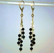 14k solid yellow gold 4mm natural faceted black Onyx earrings leverback 5.20 tcw