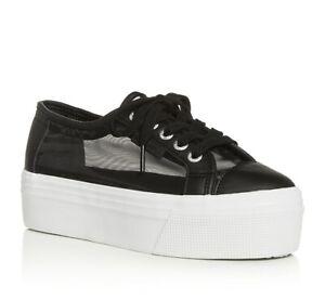 Superga 258713 Womens Matte Net Low-Top Platform Sneakers Black Size 39.5 M