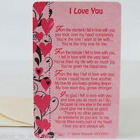 WALLET CARD I LOVE YOU Purse Keepsake Sentimental Romantic Valentines Day Pink💕