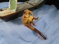 More details for figural ice skater girl antique meerschaum amber cheroot pipe & rare display box
