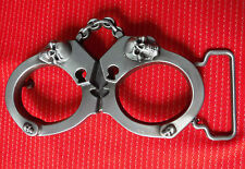 POLICE HANDCUFFS HAND CUFFS BONDAGE S&M BI SKULL AND CHAINS BELT BUCKLE