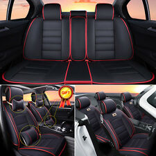5-Seats Auto Car Seat Covers Deluxe PU Leather Cushion Pad Front&Rear w/ Pillows