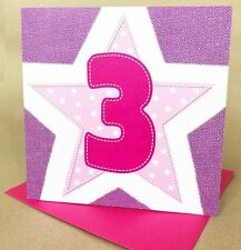 Children's Birthday Card, Age 3 Girl, 3rd Birthday Card for Girl