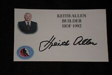 Hof Keith Allen Signed Autographed 3X5 Index Card Flyers Gm Hockey Hall Of Fame