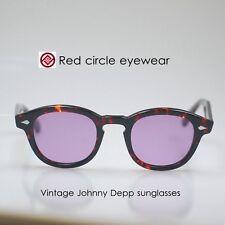Retro vintage eyeglasses frame Depp men sunglasses tortoise M tinted purple lens